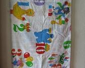 Sesame Street Vintage Old School Twin Bed Sheet Flat Fabric Linens Number Design