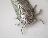 Cicada Necklace - Antiqued Silver Brass Cicada Insect Pendant Necklace Silver Chain