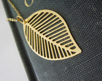 Skeleton Leaf Necklace - Gold Filigree Leaf Pendant Necklace Delicate Gold Chain