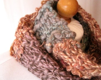 Handspun Wool Scarf / Color Block Scarf / Knitted Scarf with Fringe / Boho Hand Knit Scarf / Long Scarf with Fringe