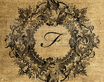 Vintage Wreath Framed Letter F - Download and Print - Image Transfer - Digital Sheet by Room29 - Sheet no. 094F