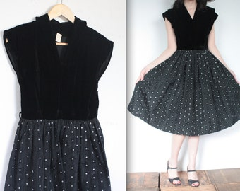 SALE Vintage 1950s Dress // Black 50's Taffeta and Velvet Party Dress with Starbursts // Atomic Era // DIVINE