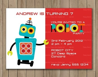 Robot Birthday Invitation, Printable Birthday Invitation, DIY, Robot Party Decor, Robot Banner, Robot Party Set 1150