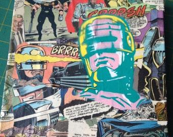 "ROBOCOP -- collage, stencil, spray paint (Original Painting #6/8) -- 8"" x 8"""