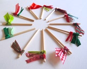 Cupcake toppers  Pack of 12 pretty ribbon Christmas holiday cake flags - Traditional Red & Green READY TO SHIP