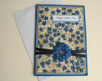 Mothers Day Card Birthday Card Any Occasion Customizable Card Blue and Yellow Floral Blank Inside- You Choose Sentiment on Front