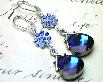ON SALE - Sapphire Flowers And Briolette Earrings - Bermuda Blue- Swarovski Crystal and Sterling Silver Leverbacks