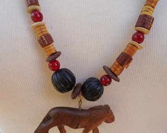 Wooden Safari Necklace with Handmade carved wood Animals (with three separate parts) 70s
