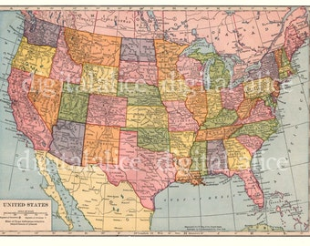 VINTAGE 1938 USA MAP -Instant Download Digital Printable-  - 8 x 10,11 x 14 - DiY Print as many as you like