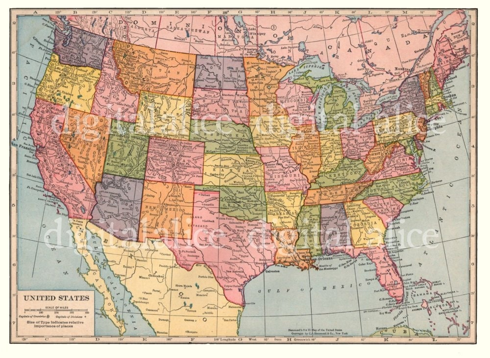 VINTAGE USA MAP Instant Download Digital Printable - Usa map download