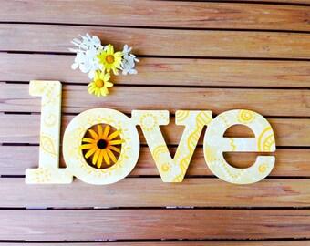 Love Wall Art - Yellow Zentangle Wall Decor - Birthday, Dorm, Sorority, Sister Gift - Hand Painted, Letter Art, Wedding Decor, Wedding Gift