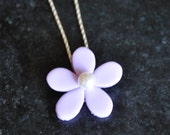 5 Petal Flower Necklace with Swarovski Pearl by Kim Lugar