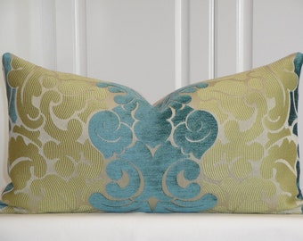 Cut Chenille - Decorative Pillow Cover - Turquoise and Lime - Sofa Pillow - Lumbar Accent Pillow