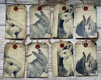 Vintage Bunny Rabbit Tags, Set of 8 for Easter, Journaling or Gift Tags
