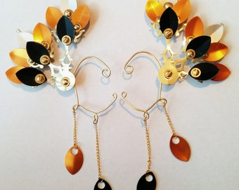 Deluxe Monarch Steam Drake Clockwork Wings- Over The Ear Cuff Set Steampunk Accessory