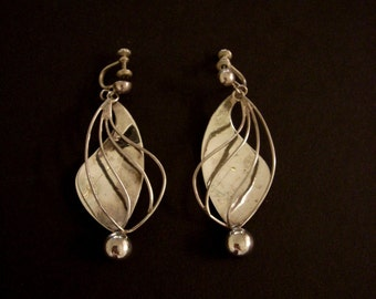"Vintage 50s Mexican Sterling Silver Earrings - Large Tlaquiltenango Earring - Mid Century Minimalist Modern 2.5"" Dangle Earrings"