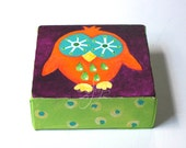 Miniature Whimsical Owl Art, The Daily Hoot 7.10.14, Mini Painting, 4x4 acrylic canvas
