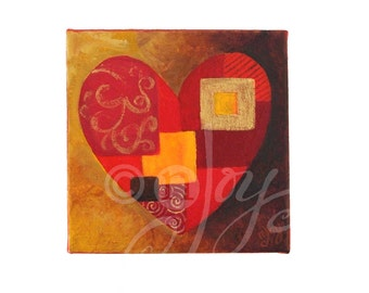 PATCHWORK HEART, 6x6 Acrylic Painting on Canvas, Home Accent Decor, Romantic Wall Art