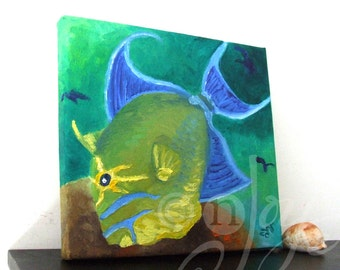 QUEEN TRIGGER FISH, Original 8x8 Oil Painting on Canvas, Tropical Fish Painting, Wall Art Home Accent