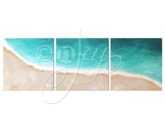 TROPICAL SHORELINE - CUSTOM Home and Office Art - Set of 3 12x12 Acryic Canvas - Beach Themed Decor