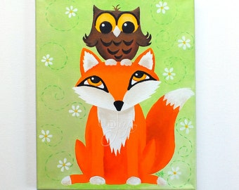 Fox & Owl Painting for Kids, Children's Decor, Art for kids,11x14 Acrylic Canvas Painting, Nursery art