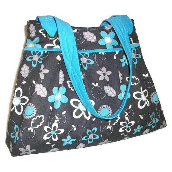 Pleated Purse / Shoulder Bag with Double Straps  / Gray Pocketbook / Floral Handbag -  Gray with White and Turquoise Flowers