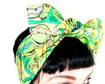 Vintage Inspired Head Scarf, The Ninja Turtles