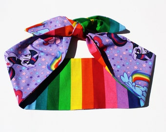 Vintage Inspired Head Scarf, Rainbow, Little Pony, Adult and Kids sizes
