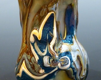Intriguing Blown Glass Wine Cup artist signed George Watson