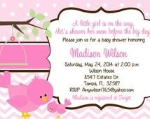 Birdie Baby Shower Invitation, baby girl baby shower, bird, DIY, printable, bird baby shower