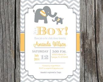 Elephant Baby Shower Invitation- Elephant Baby boy Shower, orange, chevron, DIY Printable file - customization included.