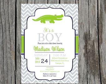 Printed Alligator Baby Shower Invitation, alligator, gator baby shower, boy baby shower