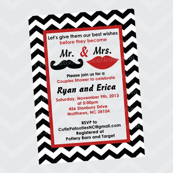 Mustache and Lips Bridal Shower Wedding Invitation, Mr. and Mrs. Shower Invitation, Printable or ...