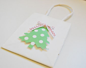 Tiny Christmas gift bags White Christmas bags with tree Christmas gift bags by oscar & ollie