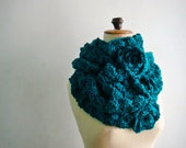 Oversized Teal Green Infinity Scarf Winter Crochet Cowl Women Snood