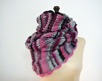 Multicolor Infinity Scarf Oversized Cowl Winter Women Ombre Snood Wrap
