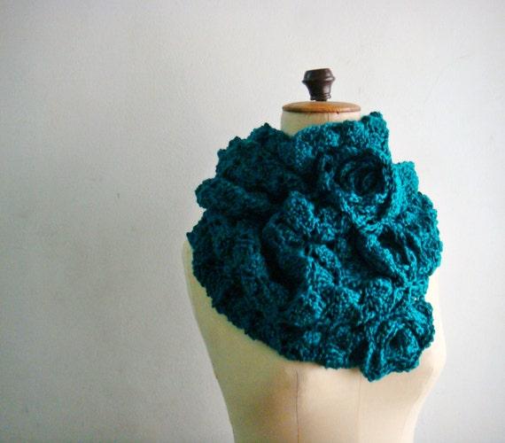 Oversized Teal Green Infinity Scarf Winter Crochet Cowl Women Snood
