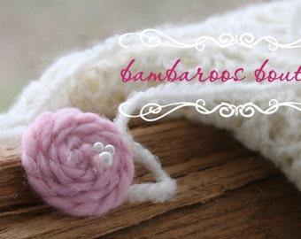 pink rosette headband, baby headband, Newborn photography props, petite headband, newborn headband, vintage headband, organic headband