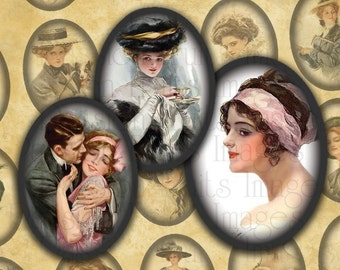 Harrison Fisher's Vintage Beauties Digital Collage Sheet 18mm x 25mm Ovals --Instant Download
