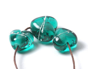 Lampwork Beads | Teal Green Lampwork Glass Heart Beads | UK SRA