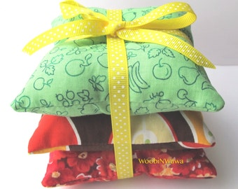 Cotton Sachets- Lavender Scented- Set of 3- Green Fruit/Brown Apple/Red Flower