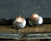 Mixed Metal Jewelry, Hammered Earrings, Copper Jewelry, Gift for Mom