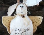 Primitive Bunny Garden Angel shelf sitter