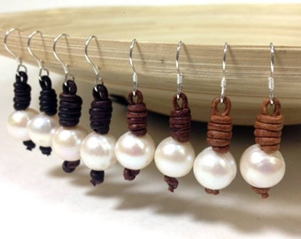 Leather and pearl earrings (Olivia) made in USA (MJ1100)