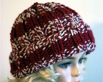 Hand Knit Beanie for Women or Men  Red and White Warm Winter Hat