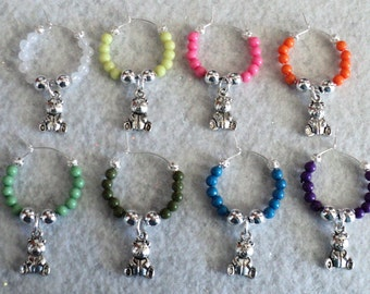 Wine Glass Charm, Wine Glass Marker, Party Accessory, Teddy Bear Gift, Baby Shower Gift, Kitchen Accessory - Set of 8 - TEDDY BEAR LOVE
