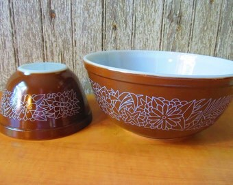 Vintage Pyrex Bowl Set, Mocha Brown, Retro Housewares, Mixing Bowls, Brown Bowl Set, Vintage Kitchen, Home & Living, Vintage Cooking