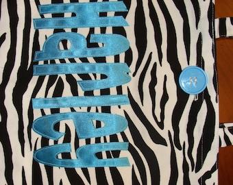 Large Personalized Zebra Tote (with button closure) - zebra stripe book bag custom birthday gift idea wedding party flower girl beach unique