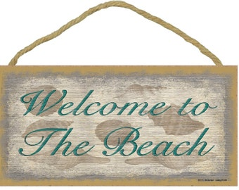 """Welcome To The BEACH Seashell Wall 5"""" x 10"""" SIGN Plaque Seaside Ocean Nautical Decor"""