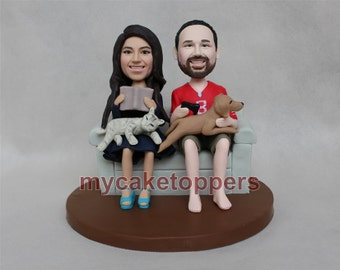 sweet wedding cake toppers, with cat and dogs, sofa, couch, cat, dog, custom wedding cake topper, custom cake topper